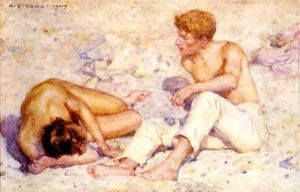 Henry Scott Tuke - Two boys on a beach (also known as A study in bright sunlight)