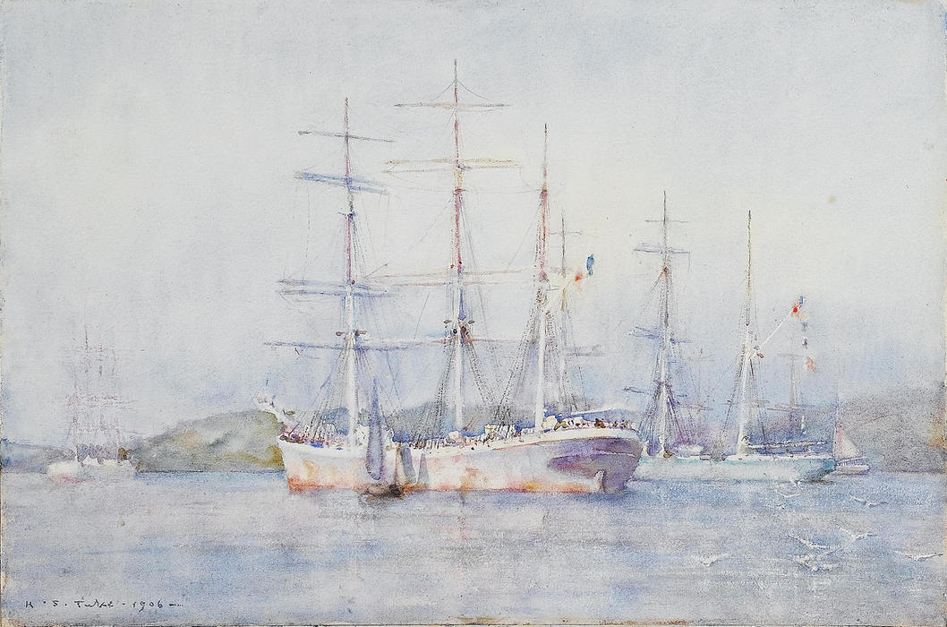 Order Museum Quality Copies | Two French barques at their anchorage in Carrick Roads by Henry Scott Tuke (1858-1929, United Kingdom) | ArtsDot.com