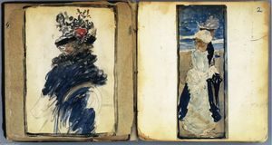 Maurice Brazil Prendergast - Two Pages from \The Boston Water-Color Sketchbook\----