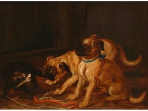Horatio Henry Couldery - Two pugs confronting a cat