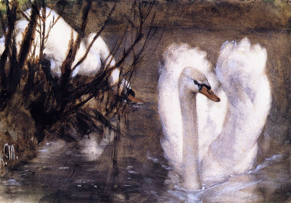 Two Swans, Frescoes by Adolph Menzel (1815-1905, Poland)