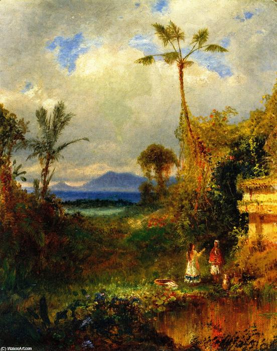 Two Women in a Tropical Landscape, Oil On Canvas by Louis Remy Mignot (1831-1870, United States)