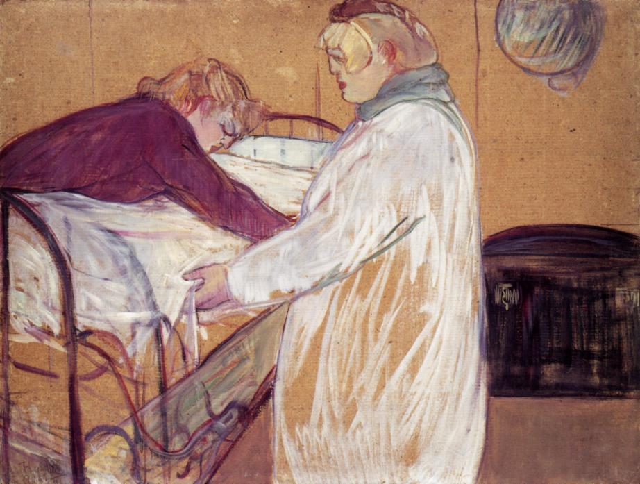 Two Women Making the Bed (also known as Deux femmes en faisant leur lit), Oil On Panel by Henri De Toulouse Lautrec (1864-1901, France)