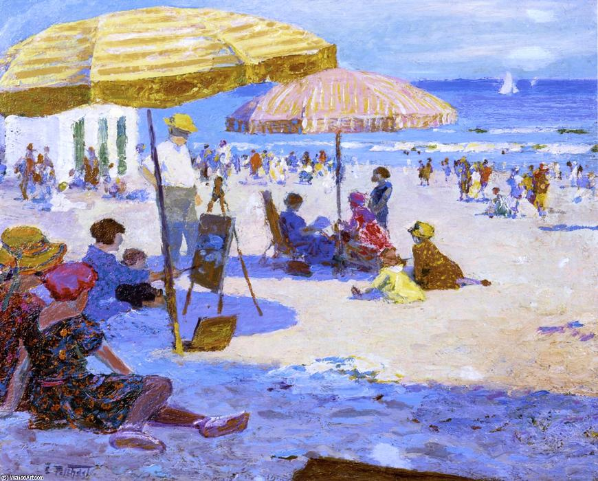 Umbrellas and the Sun by Edward Henry Potthast (1857-1927, United States) | Paintings Reproductions Edward Henry Potthast | ArtsDot.com