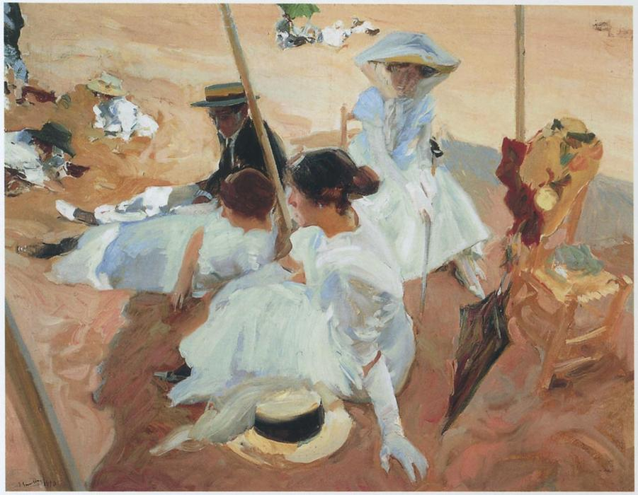 Under the awning at Zarauz beach, Oil On Canvas by Joaquin Sorolla Y Bastida (1863-1923, Spain)