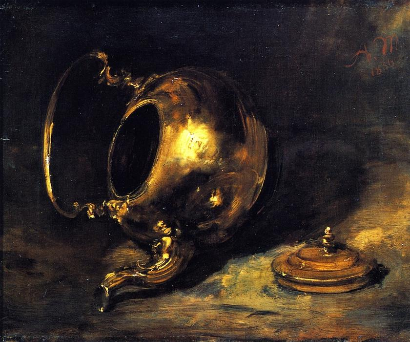 Upturned Kettle, Oil On Canvas by Adolph Menzel (1815-1905, Poland)