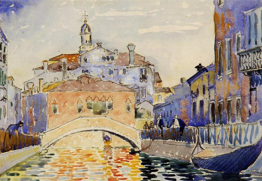 Venetian Canal, Watercolour by Henri Edmond Cross (1856-1910, France)