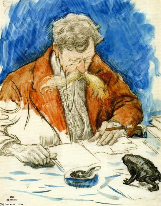 Verhaeren Reading His own Work, Watercolour by Theo Van Rysselberghe (1862-1926, Belgium)