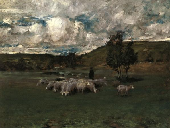 View near Polling (also known as Landscape with Sheep), 1875 by William Merritt Chase (1849-1916, United States) | Museum Quality Reproductions | ArtsDot.com