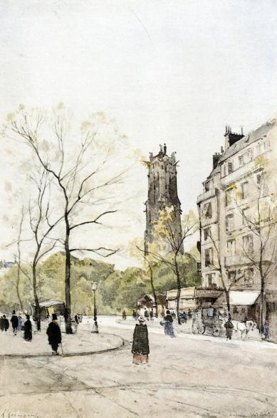 View of the Avenue Victoria, Painting by Henri-Joseph Harpignies (1819-1916, France)
