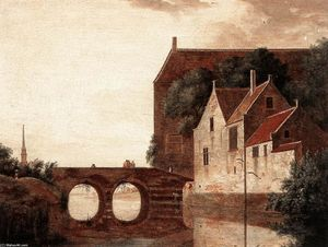 Jan Van Der Heyden - View of a Bridge