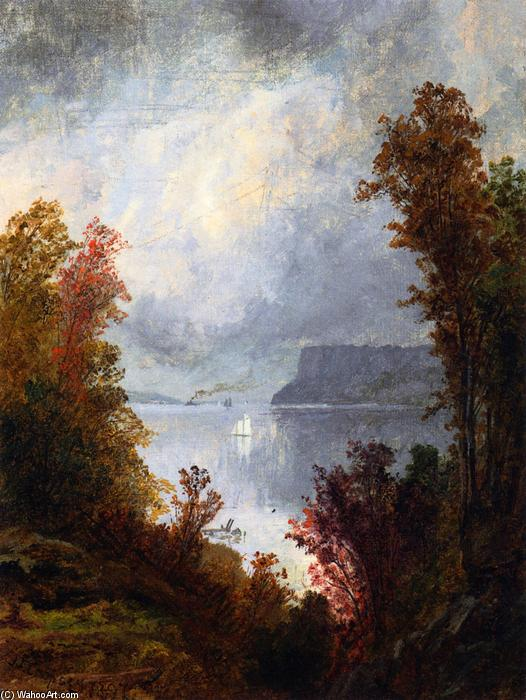 View of the Hudson River, Autumn, Oil On Canvas by Jasper Francis Cropsey (1823-1900, United States)