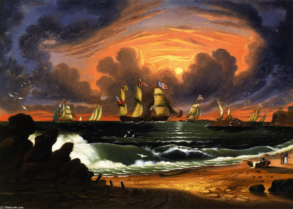 View of Nahant (also known as Sunset), Oil On Canvas by Thomas Chambers (1808-1869)