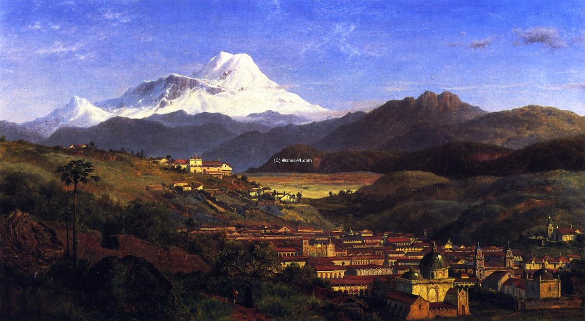 View of Riobamba, Ecuador, Looking North Towards Mount Chimborazo, 1859 by Louis Remy Mignot (1831-1870, United States) | Museum Quality Reproductions | ArtsDot.com