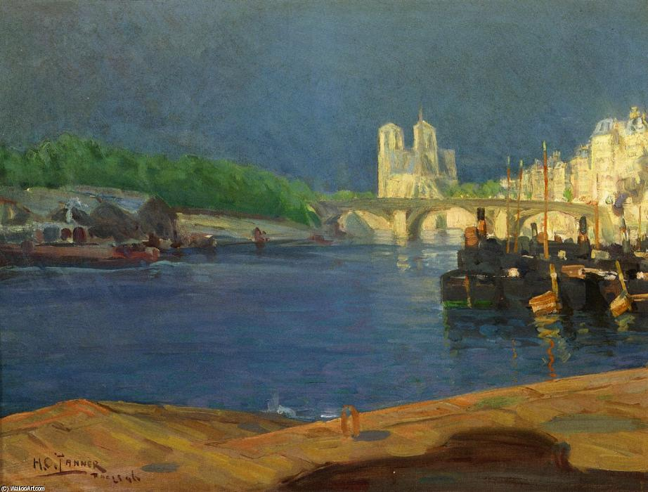 Order Oil Painting : View of the Seine Looking toward Notre Dame, 1896 by Henry Ossawa Tanner (1859-1937, United States) | ArtsDot.com
