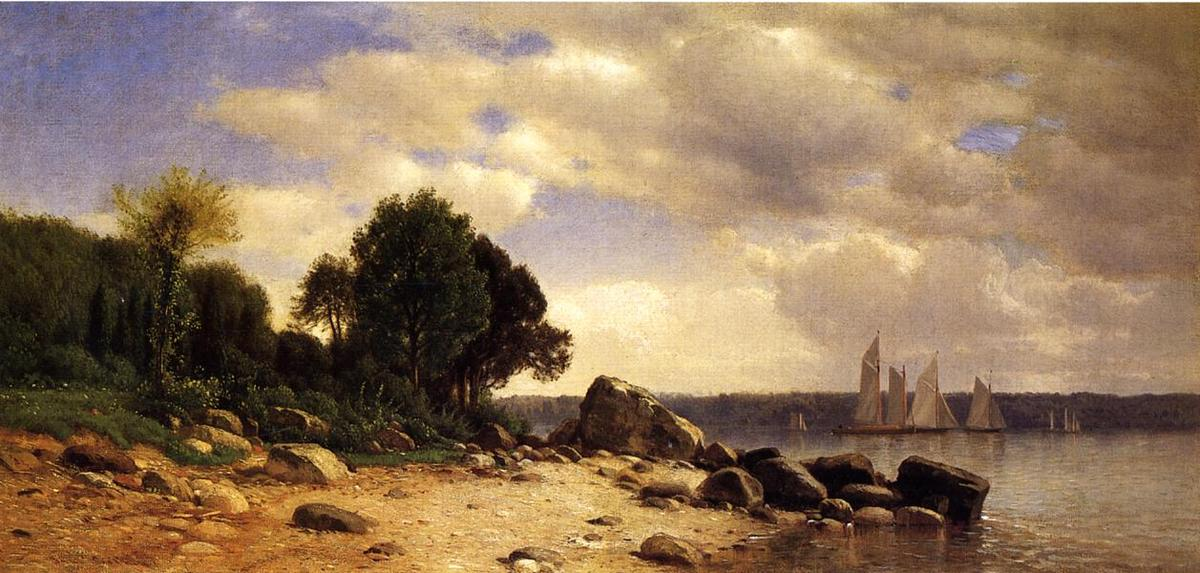 View on the Hudson, 1865 by Samuel Colman (1832-1920, United Kingdom) | Art Reproduction | ArtsDot.com