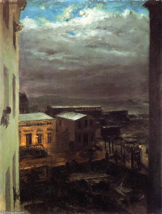 View over Anhalt Station by Moonlight, Painting by Adolph Menzel (1815-1905, Poland)