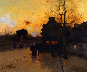 Eugene Galien Laloue - Village, an Autumn Evening