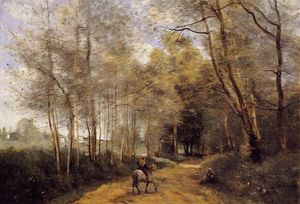 Jean Baptiste Camille Corot - Ville d-Avray - Horseman at the Entrance of the Forest