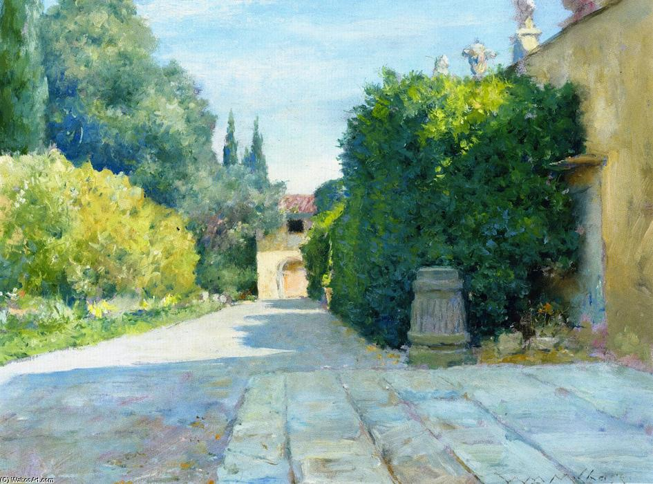 Villa in Florence, Oil On Panel by William Merritt Chase (1849-1916, United States)