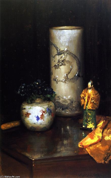 Violets and Still Life (also known as Still Life Violets, Still Life with Chinese Vase), Oil On Canvas by William Merritt Chase (1849-1916, United States)