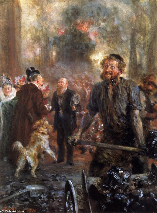 Visit to the Forge, 1900 by Adolph Menzel (1815-1905, Poland) | Oil Painting | ArtsDot.com