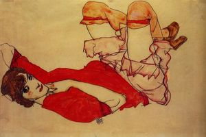 Egon Schiele - Wally with a Red Blouse