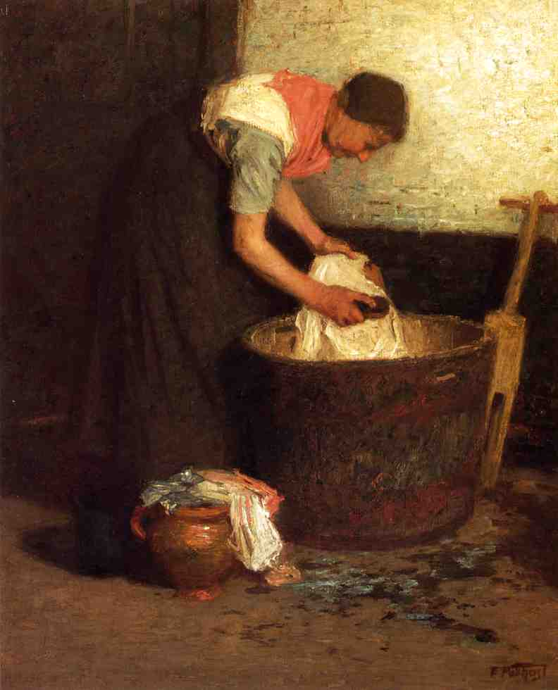 The Washerwoman by Edward Henry Potthast (1857-1927, United States) | Paintings Reproductions Edward Henry Potthast | ArtsDot.com