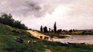 Charles François Daubigny - Washerwomen on the Riverb..