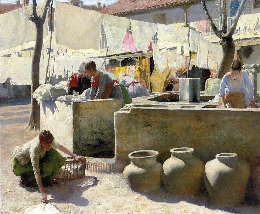 Washerwomen, Seville, Oil On Panel by Charles Frederic Ulrich (1858-1908, United States)