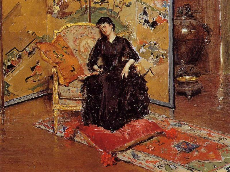 Weary (also known as Who Rang?), 1889 by William Merritt Chase (1849-1916, United States) | Museum Quality Reproductions | ArtsDot.com