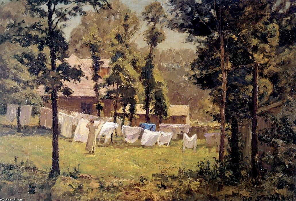 Week's Washing, Oil On Canvas by Theodore Clement Steele (1847-1926, United States)
