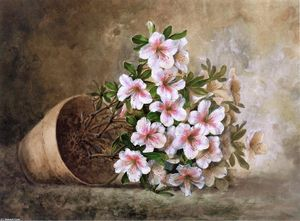 Paul De Longpre - White Azaleas in a Flower Pot