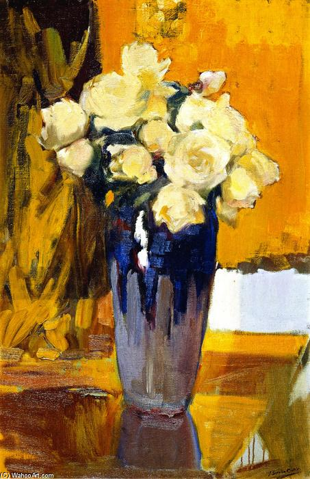 White Roses from the Garden of My House, Oil On Canvas by Joaquin Sorolla Y Bastida (1863-1923, Spain)