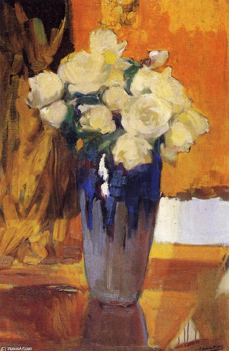 White Roses from the House Garden, Oil On Canvas by Joaquin Sorolla Y Bastida (1863-1923, Spain)