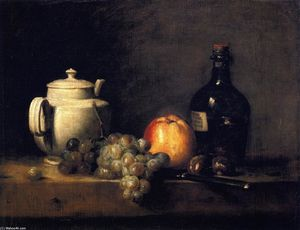 Jean-Baptiste Simeon Chardin - White Teapot with White and Red Grapes, Apple, Chestnuts, Knife and Bottle