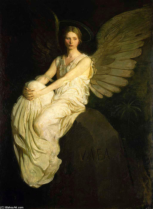 Winged Figure Seated Upon a Rock, 1903 by Abbott Handerson Thayer (1849-1921, United States)