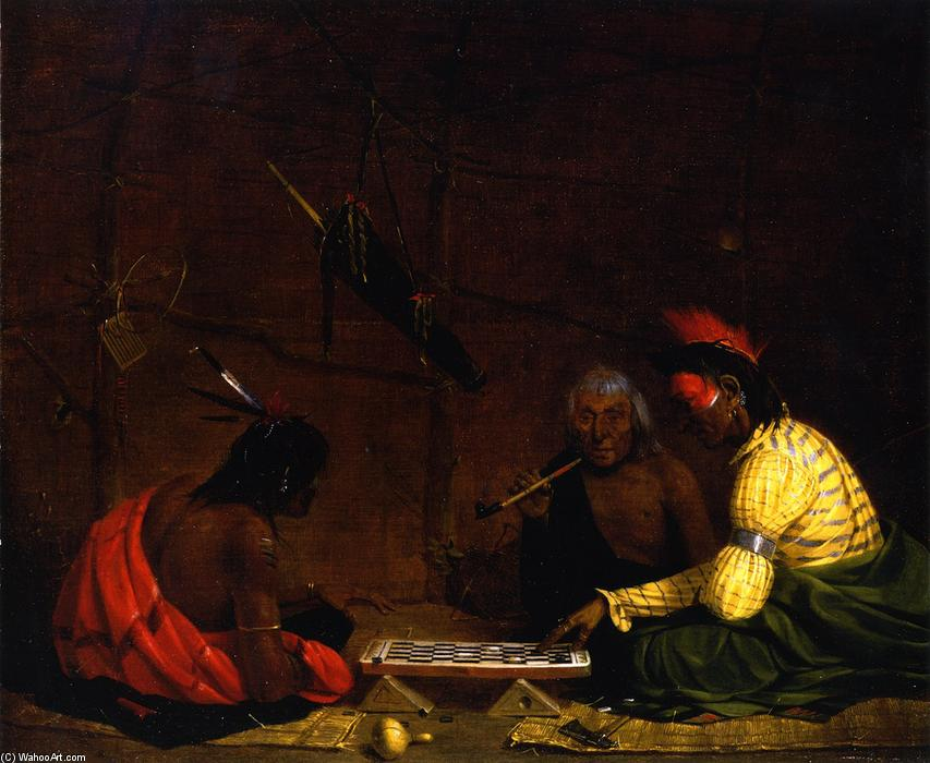 Winnebagos Playing Checkers, Oil On Canvas by Charles Deas (1818-1867, United States)