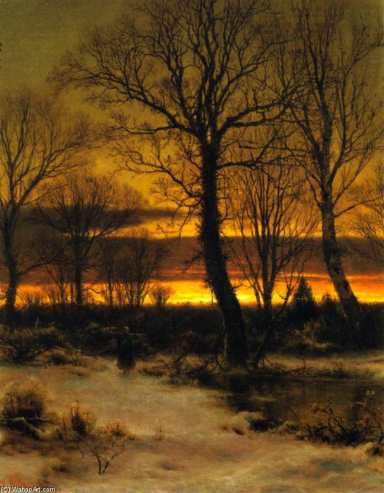 Winter (also known as Sunset in the Forest), Oil On Panel by Louis Remy Mignot (1831-1870, United States)