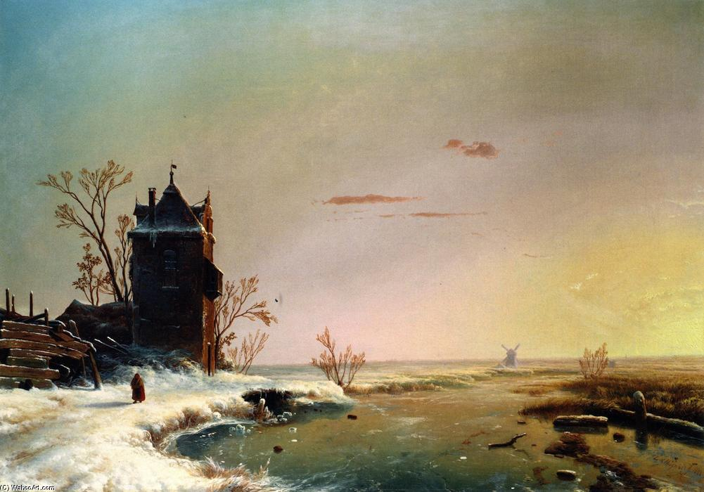 Winter Scene, Holland, Oil On Canvas by Louis Remy Mignot (1831-1870, United States)