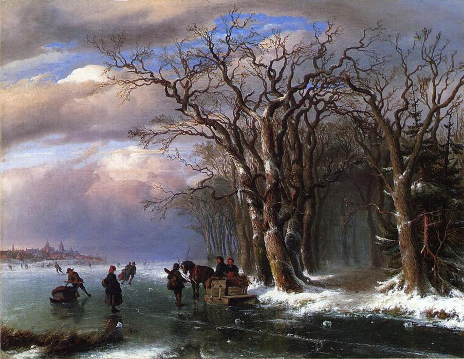 Winter Skating Scene (also known as Winter Scene in Holland), 1850 by Louis Remy Mignot (1831-1870, United States) | Museum Art Reproductions | ArtsDot.com
