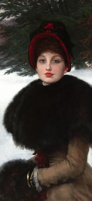 Order Museum Quality Reproductions : A Winter`s Walk (also known as Kathleen Newton in snow scene), 1878 by James Jacques Joseph Tissot (1836-1902, France) | ArtsDot.com