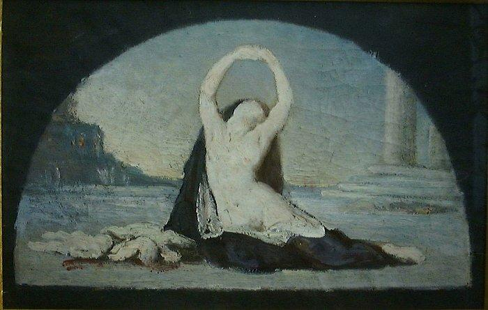 Woman in Classical Setting, 1880 by Pierre Puvis De Chavannes (1824-1898, France)