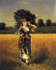 Samuel S Carr - Woman in a Wheatfield