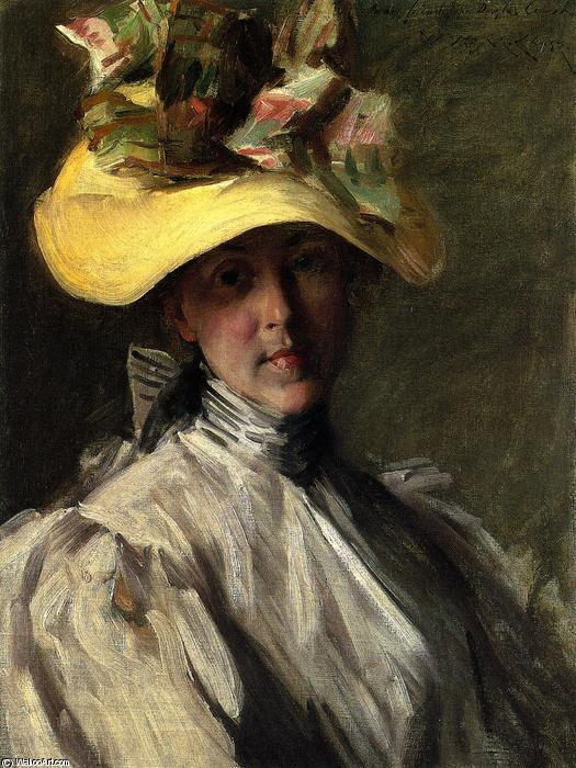 Woman with a Large Hat, Oil On Canvas by William Merritt Chase (1849-1916, United States)