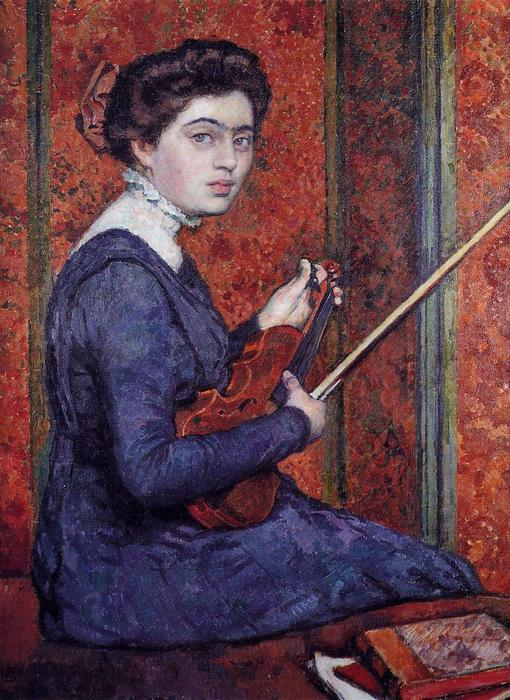 Woman with Violin (also known as Portrait of Rene Druet), Oil On Canvas by Theo Van Rysselberghe (1862-1926, Belgium)