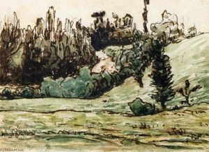 Jean-François Millet - Wooded Hillside near Vichy