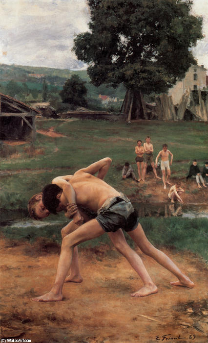 Wrestling, Oil On Canvas by Émile Friant (1863-1932, France)