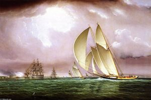 James Edward Buttersworth - Yachting Race in New York Harbor with Naval Salute and Castle Williams on Governors Island