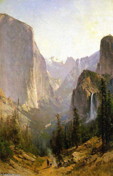 Yosemite Waterfall, Oil On Canvas by Thomas Hill (1829-1908, United Kingdom)